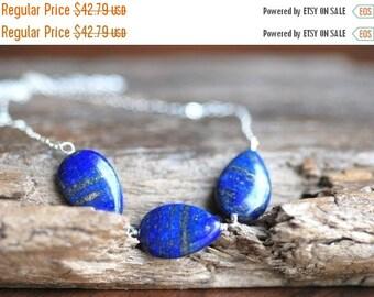 ON SALE Lapis Lazuli Necklace Sterling Silver Blue Lapis Necklace Blue Teardrop Trio Link Deep Blue Necklace Blue Lapis Necklace Gifts for H