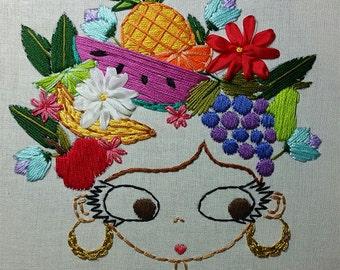 Portrait of Carmen Miranda Digital Embroidery Patterns