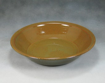 Orange and Green Deep Dish Pie Pan Hand Thrown Stoneware Pottery 8
