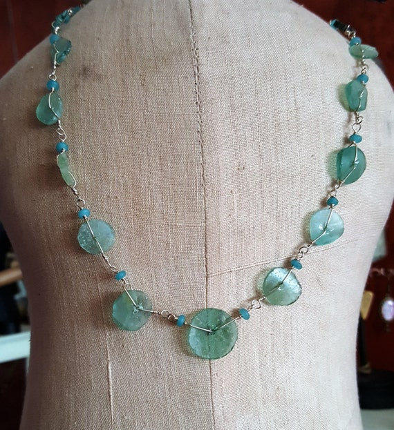 Roman Glass Ancient Goddess Necklace