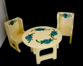 Vintage Arts and Crafts Dollhouse Dining Set
