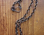 17 inch Antiqued Pure Copper Chain Necklace with Hammered Clasp