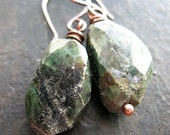 Natural Emerald Faceted Nugget Earrings