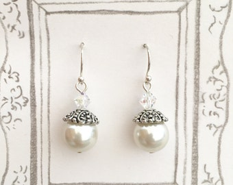 Attractive White Imitation Pearl Earrings, Swarovski Crystal Silver-plated Earrings, Big Pearl Earrings, Pearl Earrings, Christmas Gift