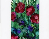 Acrylic painting flower bouquet, home decor, small art