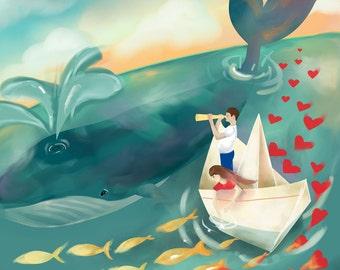 Whale Nursery Wall Art - A3 (Large) Fine Art Print - 'Adventures at Sea'