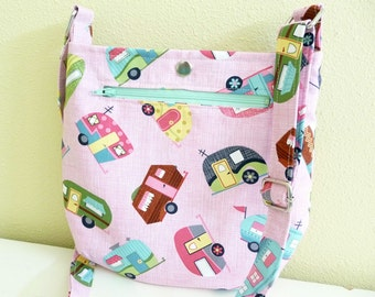 Pink Camping Themed Small Crossbody Tote Bag Purse
