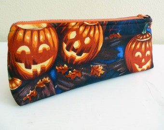 Halloween Pumpkins Pencil Pouch, Case, Long Zippered Bag