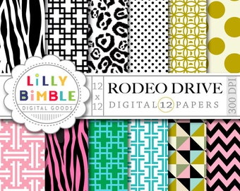 80% off Digital Paper for monogramming, zebra, leopard prints, Rodeo Drive, INSTANT Download