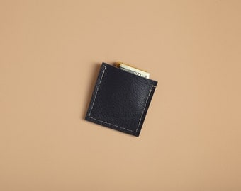 Square Slim Wallet - Indigo Blue Leather