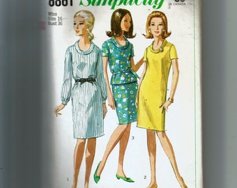 Simplicity Misses' One or Two Piece Dress Pattern 6861