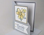 Friends are kind to each other's hopes and cherish dreams card handmade stamped embellished fancy fold grey yellow stationery greeti