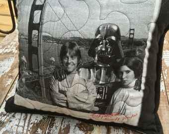 Star Wars Pillow-Throw Pillow--Upcycled Eco Friendly-Quilted-Skywalker Family Vacation