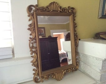 Ornate Gilded Gold Mirror / Rectangle / Homco 1988 / PARIS Apartment