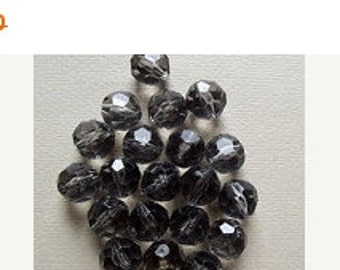 ON SALE Vintage faceted smokey grey beads