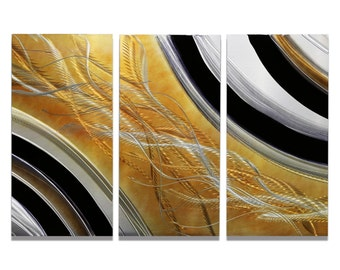 NEW! Nature-Inspired Black, Gold & Silver Abstract Metal Accent - 3 Piece Set - Modern Metal Wall Art Painting - Honeybee 3 by Jon Allen