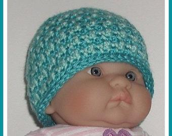 Turquoise Robin's Egg Blue Newborn Striped Baby Boys Hat Beanie Boy