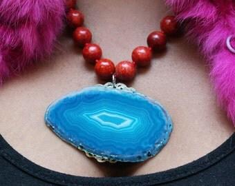 Cave Dweller Large Blue Agate Statement Necklace