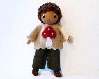 Acorn Felt Doll, Bendy Doll by Princess Nimble-Thimble- Waldorf Felt Doll-Woodland Boy- Small Doll- Felt Bendable Doll- Acorn Hat