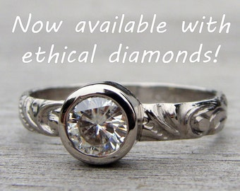 Ethical Diamond Engagement Ring - Pure Carbon Lab Created Diamond & Recycled 950 Palladium, Eco-Friendly, Made in the USA - Made To Order