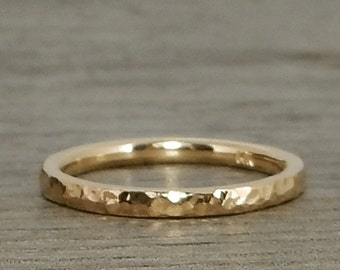 Hammered Gold Ring - Recycled 14k Yellow Gold Wedding Band or Skinny Stackable Ring - Ethical, Eco-Friendly, Handmade, Made to Order