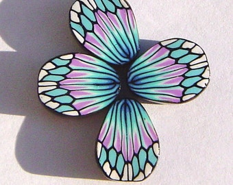 Exotic Turquoise Lavender Butterfly Wing Handmade Artisan Polymer Clay Beads