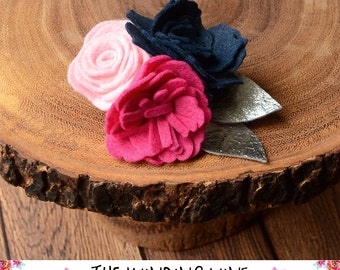 Navy/Pink/Magenta Felt Flower with Silver Leaves Clip/Headband/Barrette for Baby, Child, Teen, or Adult - Custom Elastic