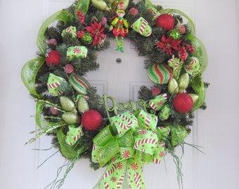 Peace Christmas Wreath -Deco Mesh  Front Door Wreath, Welcome Wreath , Christmas Wreath, Wall Decoration - SALE