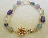 Monet Lotas Water lily bracelet Aquqmarine Amethyst Fluorite Golden Lotas Gemstone