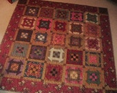 Churn Dash Table Topper Wallhanging Finished Quilt 50 x 50 inches
