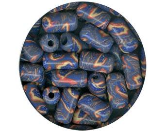 Campfire Porcelain Barrel Tube Bead Handmade USA Marbled Blue Orange Yellow Hot Flame