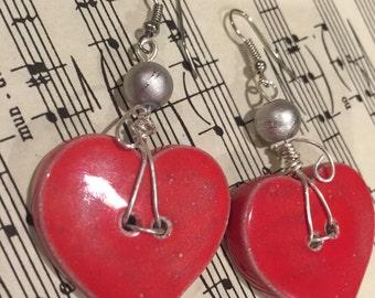 Red Valentine Dangle Heart Earrings