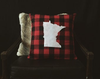"Rustic Minnesota Silhouette Decorative Pillow Cover - White State on Buffalo Check 18"" x 18"""