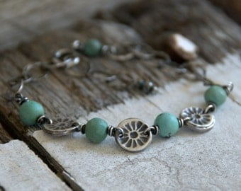 Desert Bloom Bracelet - Turquoise. Oxidized Fine and Sterling Silver