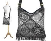 Hippie Crossbody Bag Fringe Boho Bag Black Bohemian Hobo Purse Handbag Cross Body Shoulder Bag Purse tribal black white gray ethnic RTS