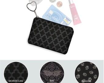 Small Zipper Pouch Coin Purse Keychain Key Fob Business Card Holder Black Purse Organizer Fabric Quatrefoil Goth Bats Dog Paw Print gray