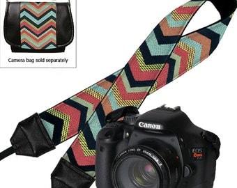 Chevron Tapestry Camera Neck Strap Dslr Camera Strap SLR Padded Camera Strap Nikon Canon blue red black yellow MTO