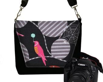 CLEARANCE DSLR Camera Purse, Women's Camera Bags, Messenger Bag, Camera Case,  Etsuko Furuya Fabric, bird spider web pink black gray  RTS