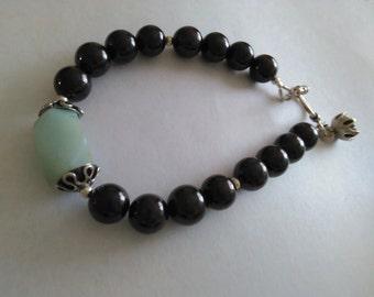 Garnet and Amazonite Bracelet Sterling silver