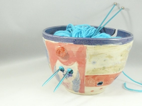Knitting Bowl, Yarn organizer, Yarn Bowl, Storage for Yarn, Art Bowl for knitter or crochet YB77