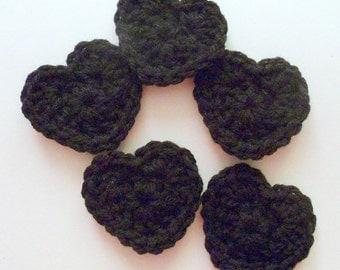 Crochet Heart Appliques, Black Crochet Heart, Crochet Heart Embellishment, Set of 5, Crochet Heart Motif, Scrapbooking