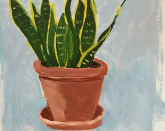 contemporary art, modern art, plant painting, snake plant original acrlyic painting pamela munger