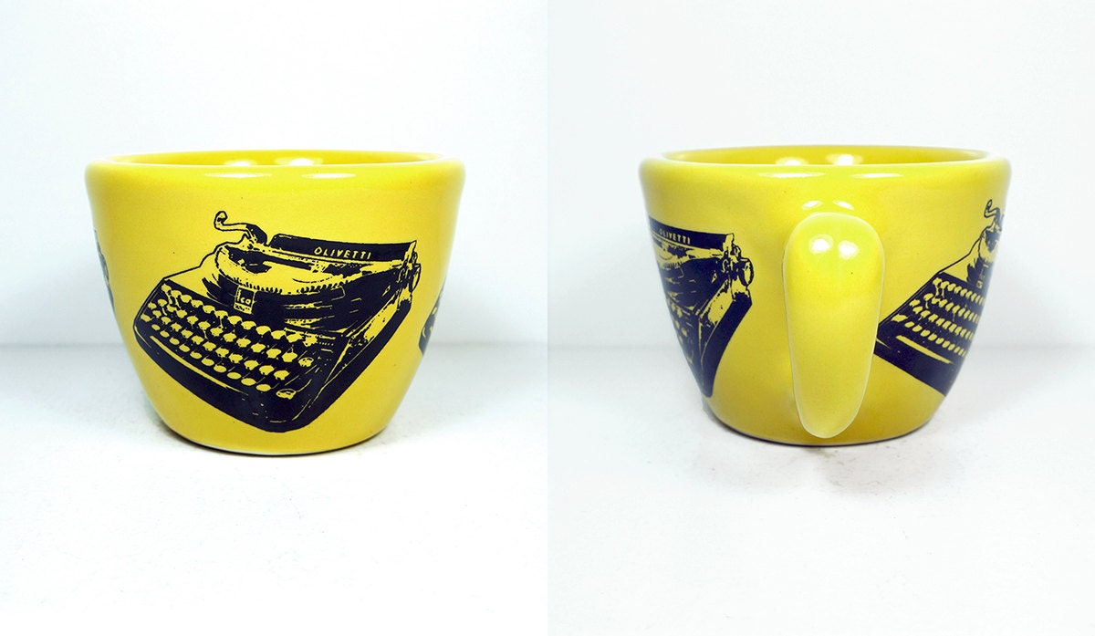 12oz cup with an Olivetti typewriter print, shown here on Lemon Butter Yellow. Made to Order / Pick Your Colour