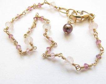 Rose Quartz Pink Tourmaline Wire Wrapped Bracelet