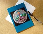 Summer Solstice Sun Tree of Life Greeting Card -  Blank Art Card Colored Pencil Drawing- Blank-