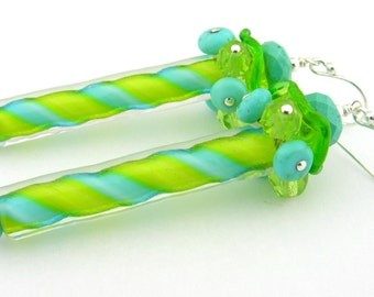 Turquoise lime green barbers pole sterling earrings cserpentDesigns carousel ruffle gem cluster