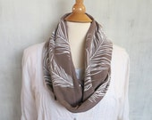 Infinity Scarf with Peacock Feathers - Organic Cotton Jersey - Light Brown