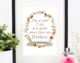 Octobers Printable Wall Art by BitsyCreations Instant Download Autumn Fall