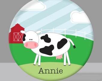 Child's Plate - Child's Bowl - Cow Melamine Bowl or Plate Personalized Child's Tableware Set