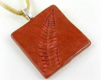 Fern Leaf Ceramic Pendant